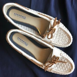 White woven leather Sperry Topsider loafers size 8